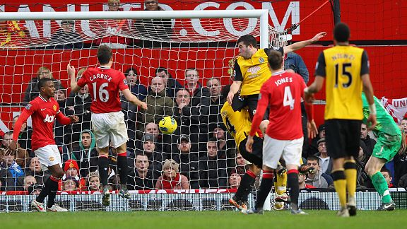 Grant Hanley scores against Manchester United