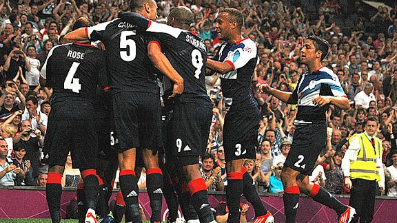 Ruling Brittania: Team GB celebrate their opening goal against Senegal