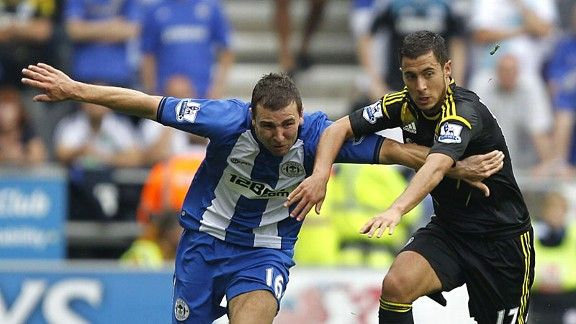James McArthur Eden Hazard Wigan v Chelsea