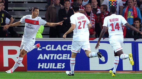 PSG striker Zlatan Ibrahimovic celebrates one of his two goals against Lille