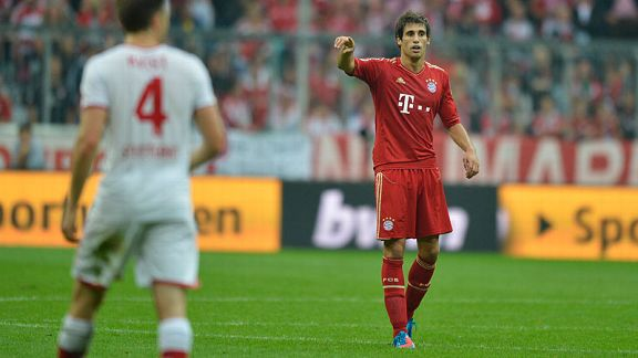 Javi Martinez, the Bundelsiga's most expensive player, makes his debut for Bayern Munich.