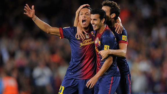 Barcelona's Adriano celebrates his winning goal against Valencia