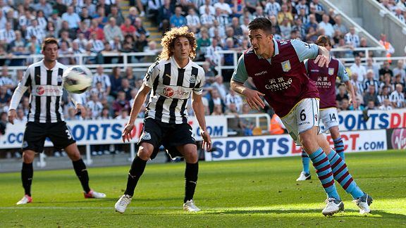 Ciaran Clark of Aston Villa scores the opening goal