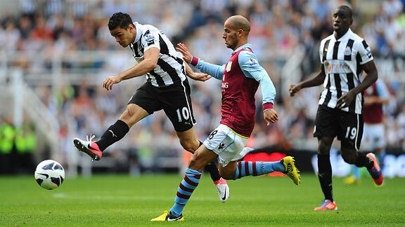Newcastle goalscorer Hatem Ben Arfa shoots