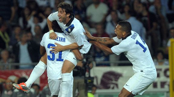 Diego Milito celebrates after putting Inter Milan into the lead