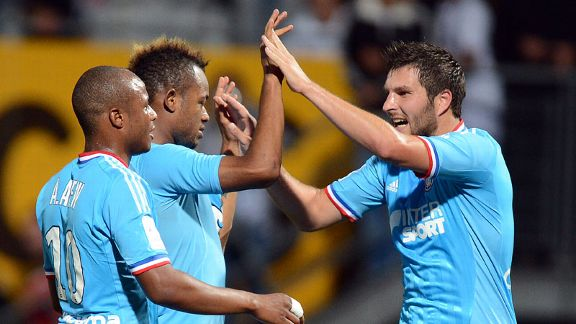 Marseille celebrate victory over Nancy
