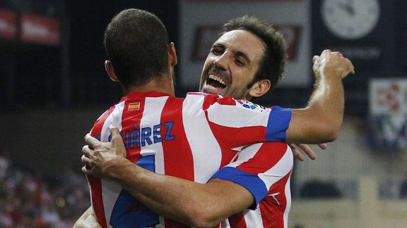 Mario Suarez celebrates with Juan Fran after opening the scoring