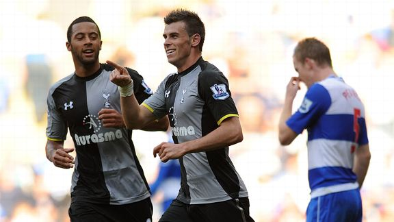 Gareth Bale celebrates after doubling Tottenham's lead at Reading