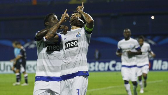 Lucho Gonzalez celebrates after putting Porto ahead at Dinamo Zagreb just before half-time