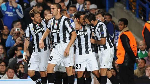 Juventus celebrate their late equaliser against Chelsea