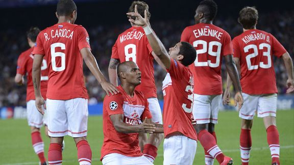 Spartak Moscow celebrate after taking a 2-1 lead at Barcelona