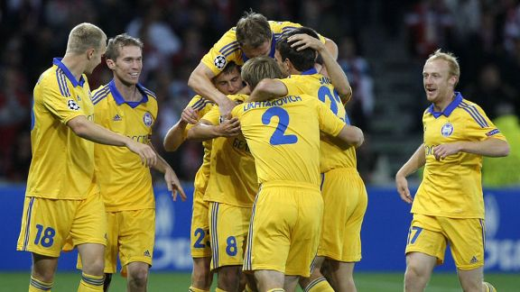 BATE Borisov celebrate taking the lead at Lille through Aliaksandr Volodko