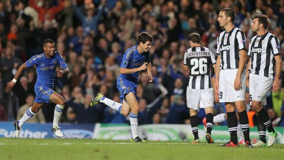 Oscar celebrates after netting a stunning second goal two minutes after his opener to double Chelsea's lead