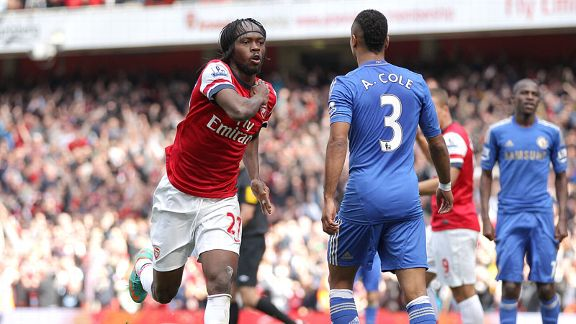 Gervinho celebrates after levelling the scores against Chelsea