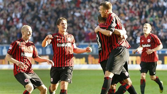 Eintracht Frankfurt celebrate after Alexander Meier's double earned all three points against Freiburg