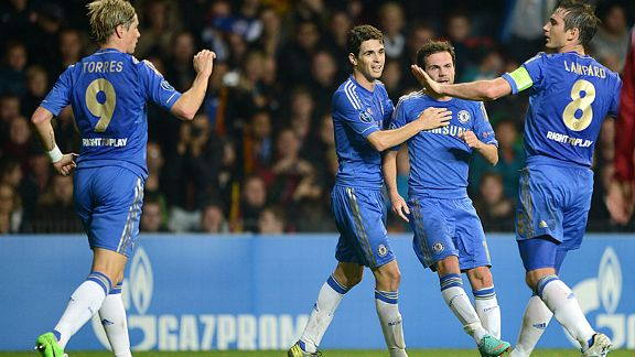 Chelsea goalscorer Juan Mata celebrates with his team-mate's Fernando Torres, Oscar and Frank Lampard
