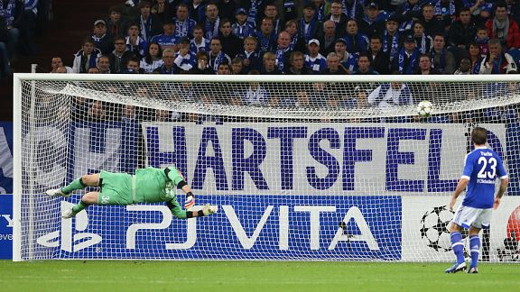Schalke keeper Lars Unnerstaallnd makes a despairing dive but can't stop Karim Ait Fana's strike for Montpellier