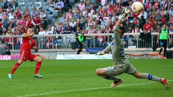 Franck Ribery scores Bayern Munich's second goal past Hoffenheim goalkeeper Koen Casteels