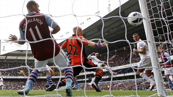 Tottenham Hotspur's English Steven Caulker scores past Aston Villa's US goalkeeper Brad Guzan