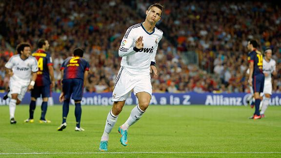 Cristiano Ronaldo celebrates scoring a brace against Barcelona