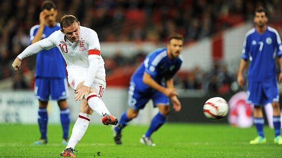 Wayne Rooney opens the scoring against San Marino at Wembley from the penalty spot