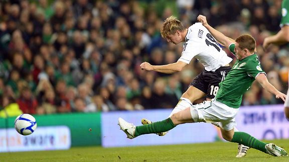 Toni Kroos leaves Ireland's defence in his wake as he scores Germany's sixth