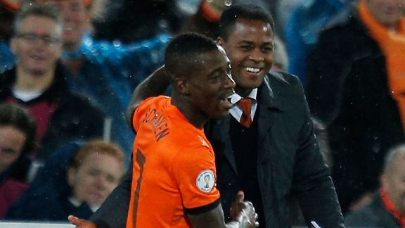 Ruben Schaken, Patrick Kluivert and the crowd are all smiles after his debut goal against Andorra