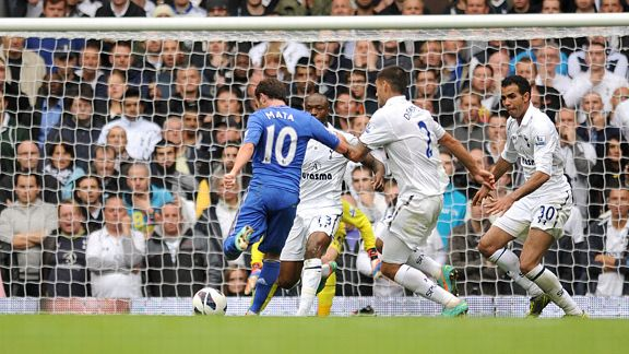 Juan Mata fires in the equaliser for Chelsea