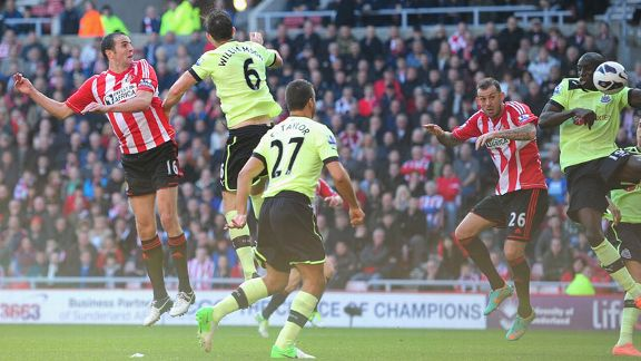 Demba Ba diverts the ball into the net to hand Sunderland a share of the spoils