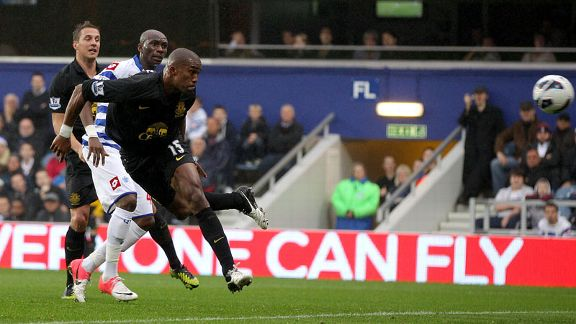 Sylvain Distin heads towards goal as Everton score an equaliser at Loftus Road