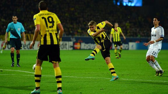 Marcel Schmelzer fires home the winning goal for Dortmund