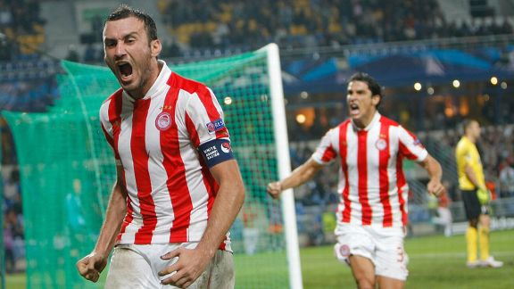 Vasilis Torosidis celebrates after netting the equaliser against Montpellier