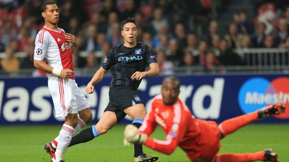 Samir Nasri fires Manchester City into the lead at Ajax