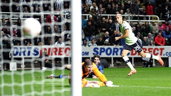 Gabriel Obertan first home Newcastle's winner against Brugge
