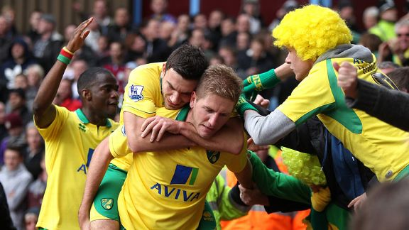 Norwich celebrate after Michael Turner put them back on level terms at Villa Park