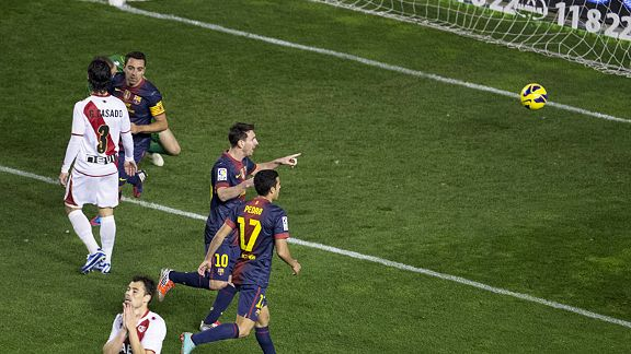 Lionel Messi scored Barcelona's second goal against Rayo Vallecano