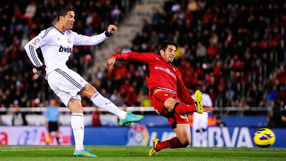 Cristiano Ronaldo fires home one of his two goals at Mallorca