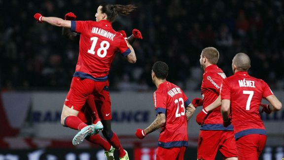 Zlatan Ibrahimovic celebrates after netting the winner for PSG at Nancy