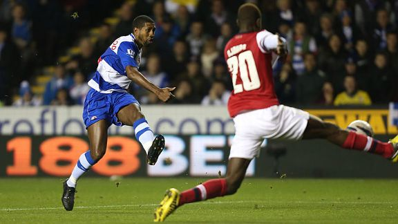 Mikele Leigertwood fires in Reading's third goal against Arsenal