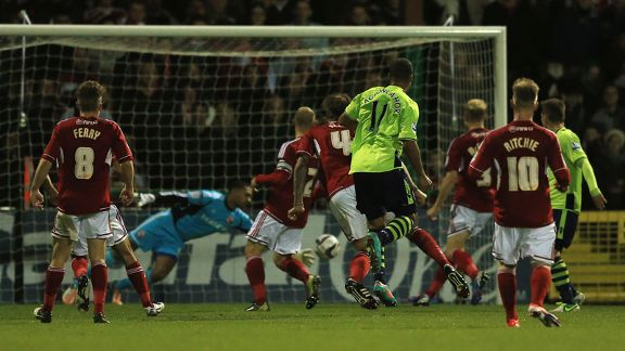 Gabriel Agbonlahor scores Aston Villa's second against Swindon