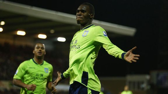 Christian Benteke celebrates after netting the winner for Aston Villa