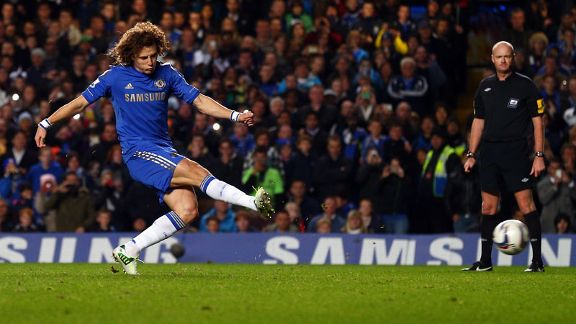 David Luiz pulls Chelsea level from the penalty spot