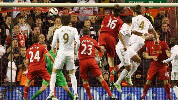 Chico (4) heads Swansea in front against Liverpool