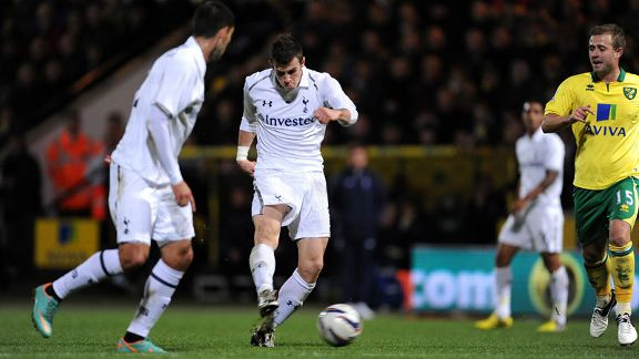 Gareth Bale puts Tottenham in front at Norwich