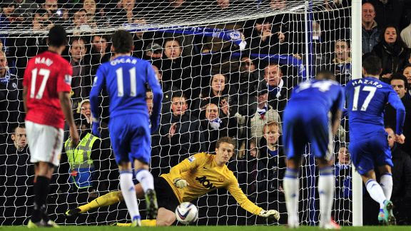 Eden Hazard rolls home Chelsea's second penalty of the night