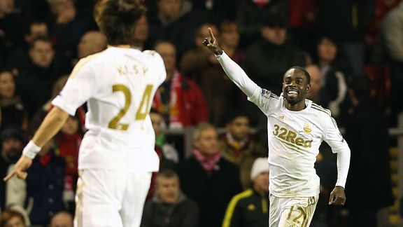 Nathan Dyer toasts his goal at Anfield