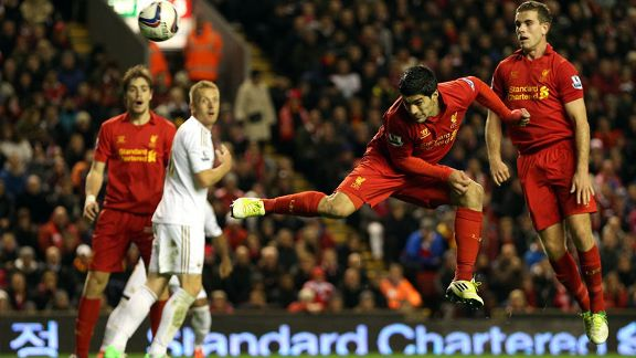 Luis Suarez pulled a goal back for Liverpool against Swansea
