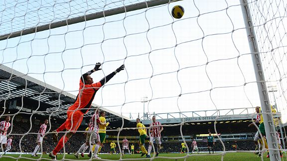 Asmir Begovic is powerless to stop Bradley Johnson's header from finding the back of the net