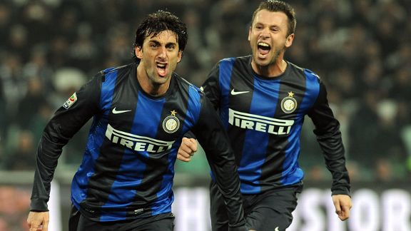 Diego Milito celebrates his second goal for Inter at Juventus