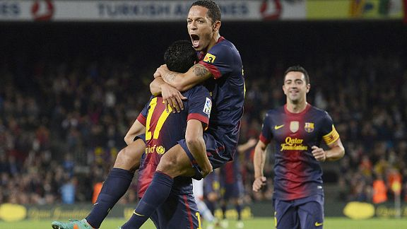 Barcelona celebrate after Adriano found the back of the net in their 3-1 win at home to Celta Vigo